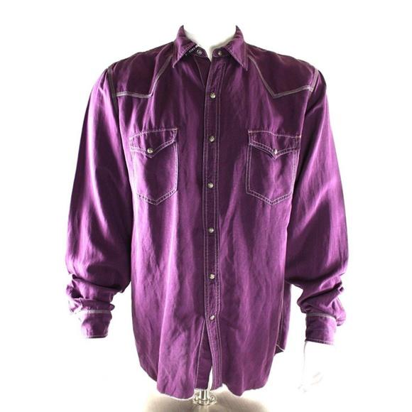 19705bfa Ryan Michael Purple Western Shirt Snaps Silk Linen.  M_5b2b63474ab6332b44c92fda